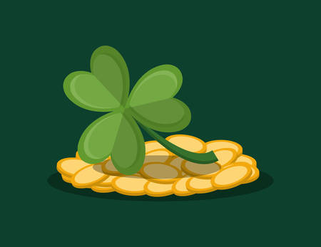 golden coins and clover over green background, colorful design. vector illustration