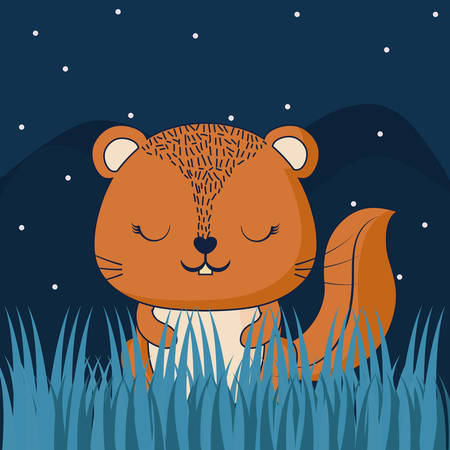 cute in a forest at the night, colorful design. vector illustration