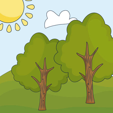 Cartoon landscape with tress, colorful design vector illustration