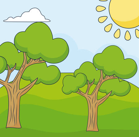 Cartoon landscape with tress, colorful design vector illustration