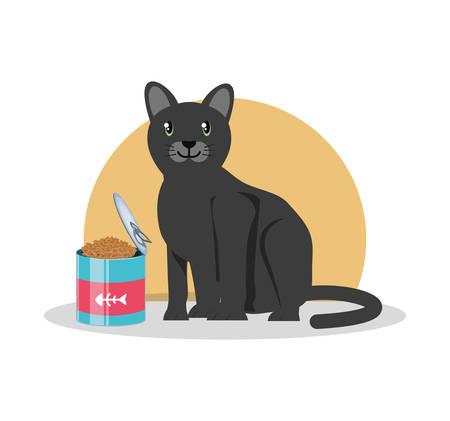 cat wirh can food vector illustration design Stock Vector - 98216339