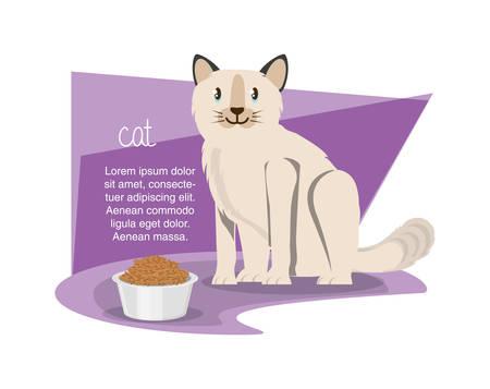 cat wirh can food vector illustration design