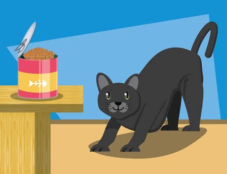 cat wirh can food vector illustration design Stock Vector - 98224844