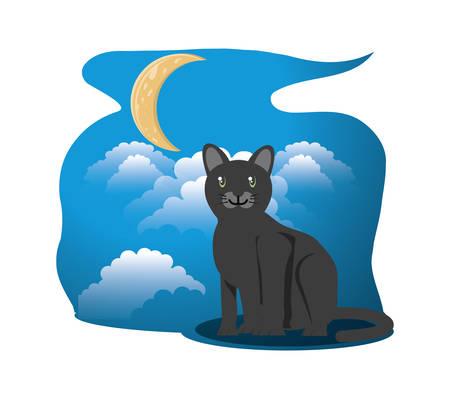 Cat under the light of the moon vector illustration design
