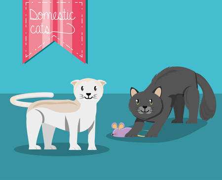 cats playing with mouse vector illustration design