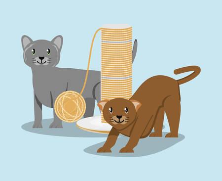 cat playing with ball of yarn vector illustration design Illustration