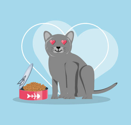 cat with can food vector illustration design