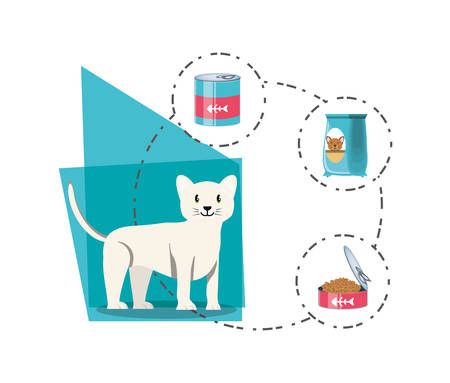 cat with can food vector illustration design Stock Vector - 98218491