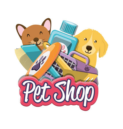 pet shop accessories icons vector illustration design Illustration