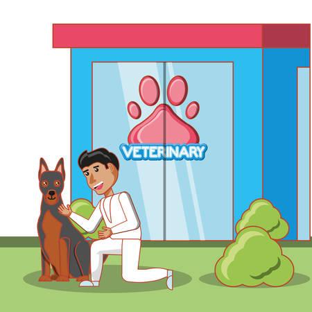 veterinary building facade with animals vector illustration design