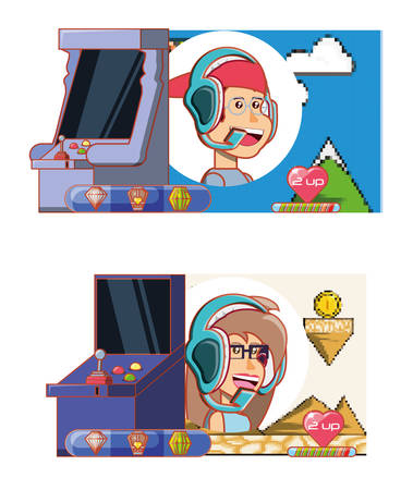 kids playing with video game console vector illustration