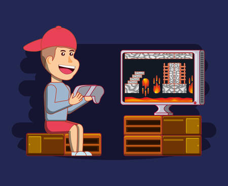 boy playing with video game console vector illustration