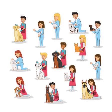 veterinary service set icons vector illustration design Çizim