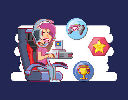 girl playing with video game console vector illustration