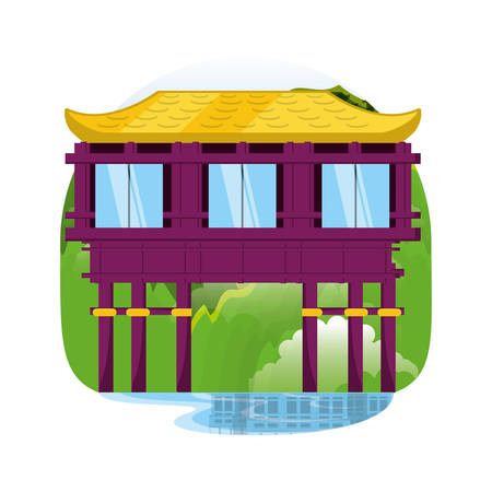 chinese culture architecture icons vector illustration design
