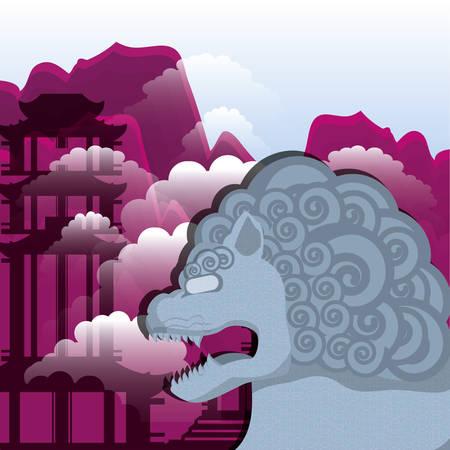 chinese culture lion emblem vector illustration design Illustration