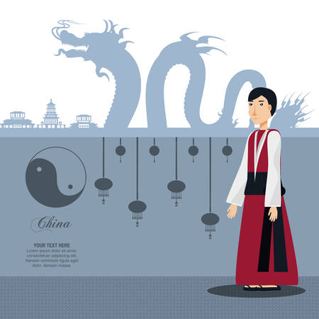 chinese culture man character vector illustration design