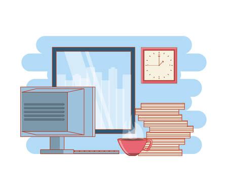 work time elements icons vector illustration design