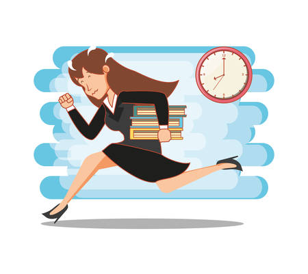businesswoman with work time elements vector illustration