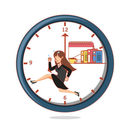 businesswoman with work time elements vector illustration Archivio Fotografico - 98252331