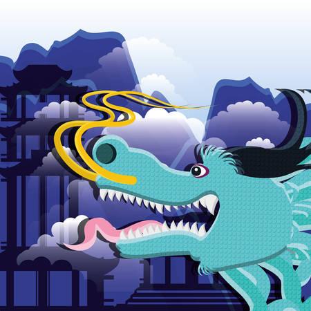 chinese culture dragon icon vector illustration design