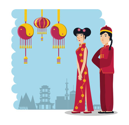 chinese culture people characters vector illustration design