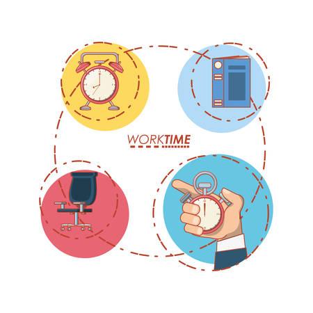 work time set icons vector illustration design