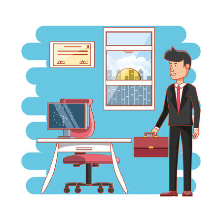 businessman avatar with work time elements vector illustration