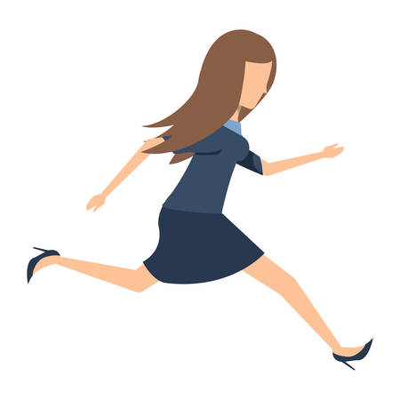avatar businesswoman running over white background, colorful design.  vector illustration