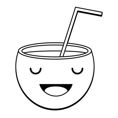 happy cocktail icon over white background, vector illustration