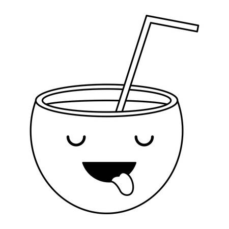 cocktail showing the tongue over white background, vector illustration