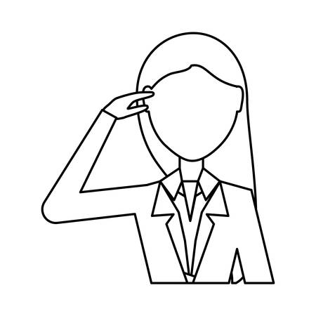 avatar businesswoman thinking over white background, vector illustration Illustration