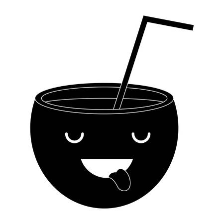 excited cocktail icon over white background, vector illustration
