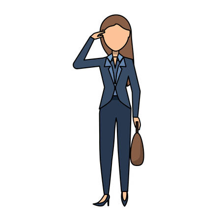 avatar businesswoman standing and holding a briefcase over white background, colorful design. vector illustration