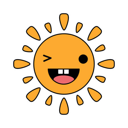 sun winking an eye over white background, colorful design. vector illustration