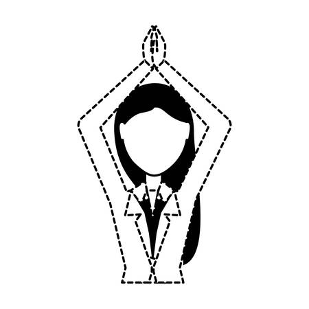 avatar businesswoman with arms up over white background, vector illustration