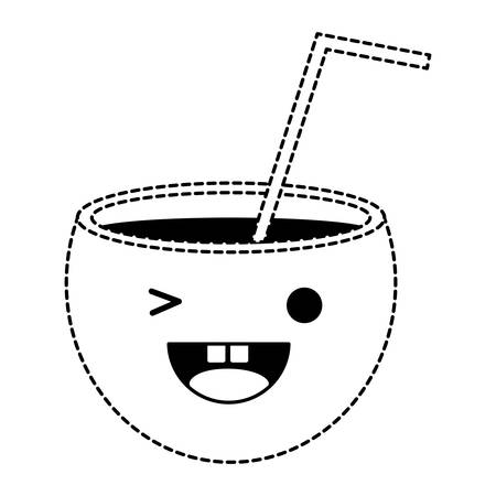 Kawaii cocktail winking an eye over white background, vector illustration.