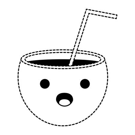 Kawaii surprised cocktail icon over white background, vector illustration.