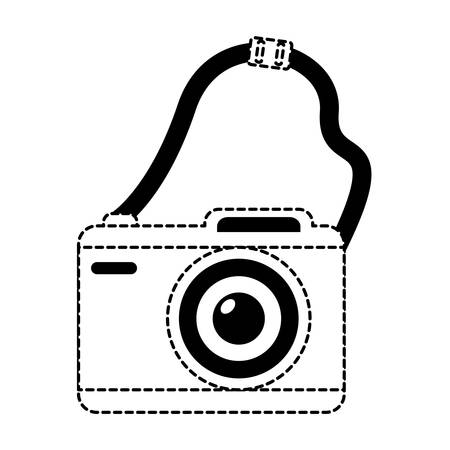 Photographic camera with strap over white background, vector illustration.