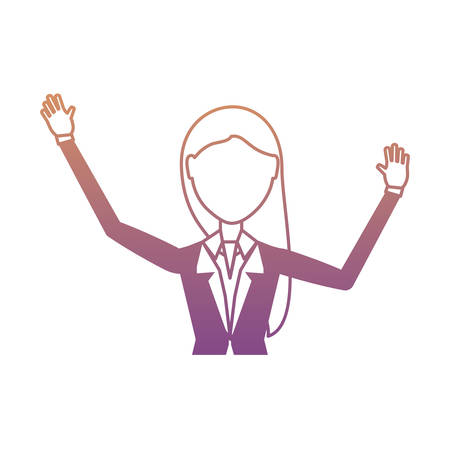 avatar businesswoman with arms up over white background, colorful design. vector illustration