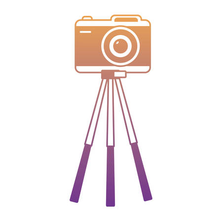 Photographic camera on tripod icon over white background, colorful design. vector illustration