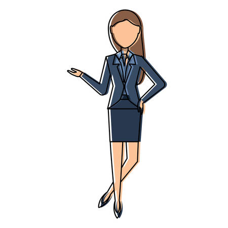 Avatar businesswoman waiting over white background, colorful design. vector illustration.