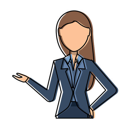 avatar businesswoman with long hair over white background, colorful design. vector illustration Illustration