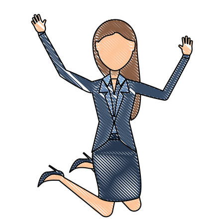 avatar excited businesswoman jumping over white background, colorful design. vector illustration