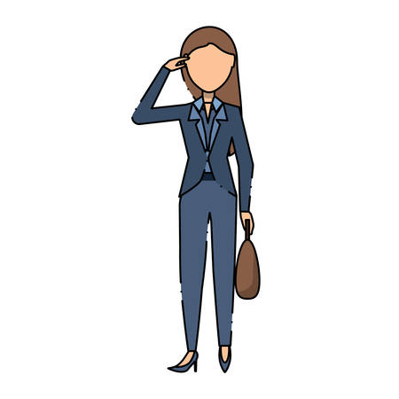 Avatar businesswoman standing and holding a briefcase over white background, colorful design vector illustration.