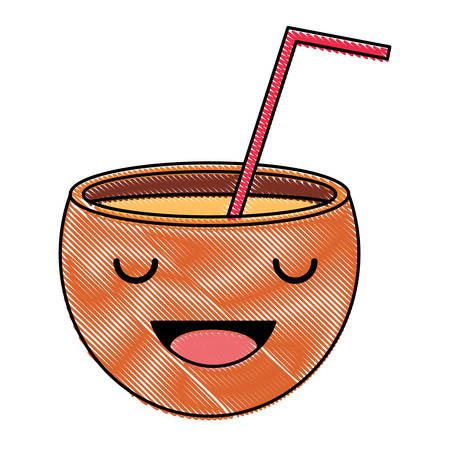 Kawaii happy cocktail icon over white background, colorful design. vector illustration Vectores