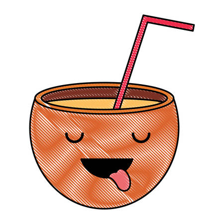Cocktail showing the tongue over white background, colorful design vector illustration. Vectores