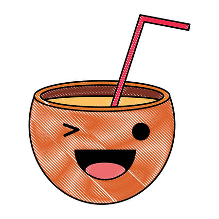 cocktail winking an eye over white background, colorful design. vector illustration