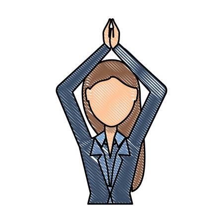 Avatar businesswoman with arms up over white background, colorful design vector illustration.