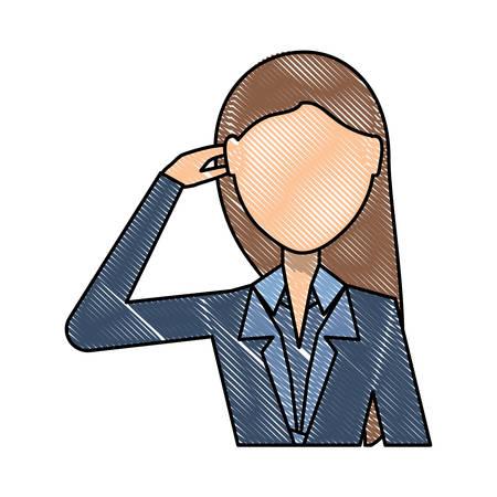 Avatar businesswoman thinking over white background, colorful design vector illustration. Illustration